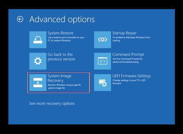windows advanced recovery options