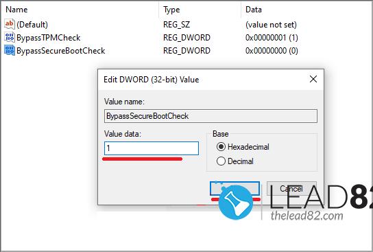 set BypassTPMCheck and BypassSecureBootCheck DWORD to 1