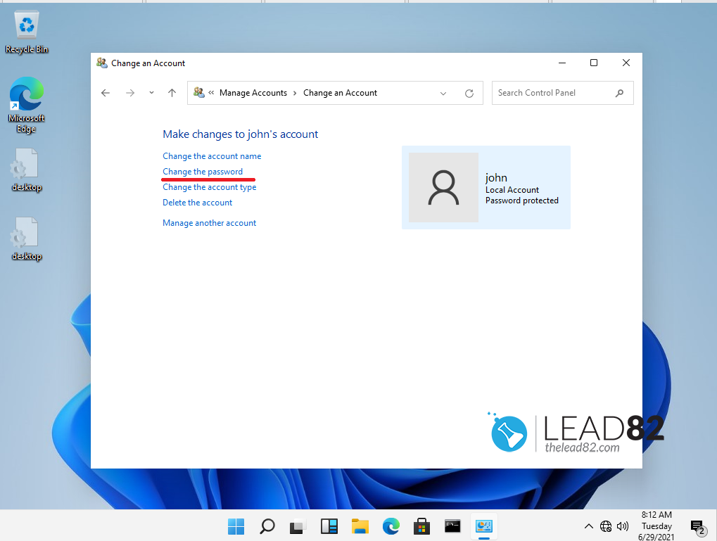 cambiar la contraseña del usuario en el Windows 11