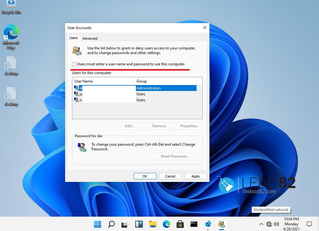 habilitar el inicio de sesión automático de windows 11 mediante la aplicación netplwiz