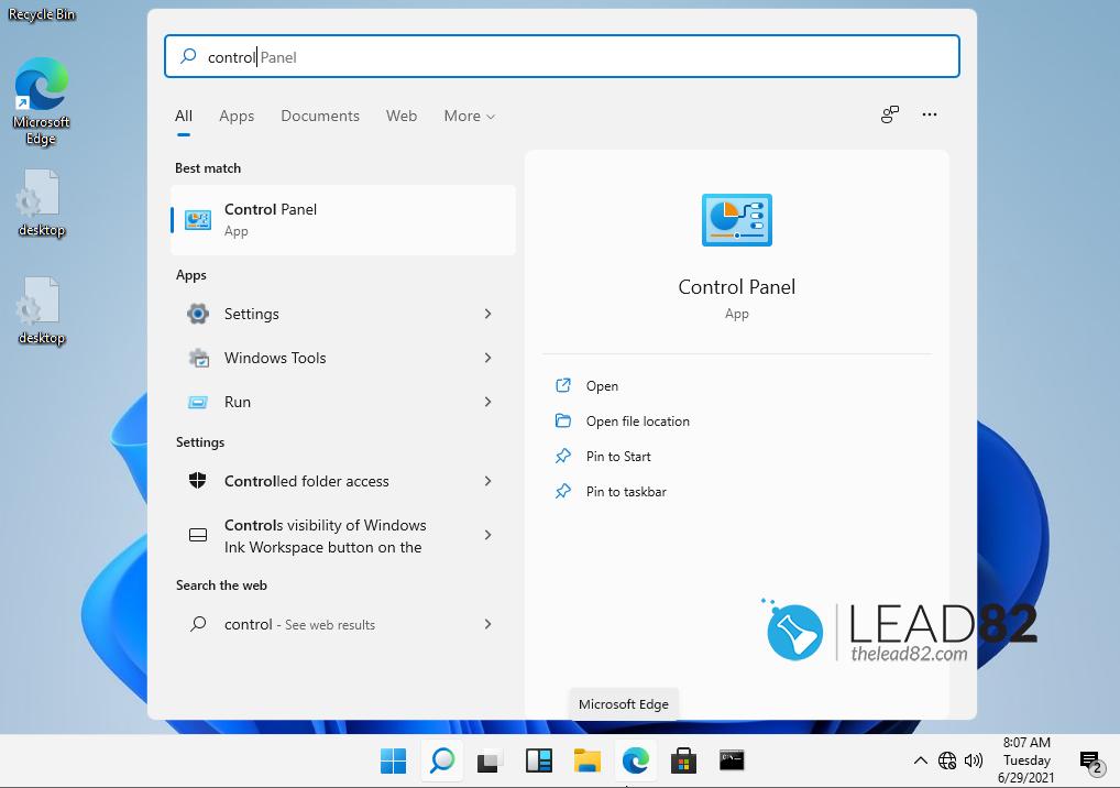ejecutar el panel de control en el Windows 11