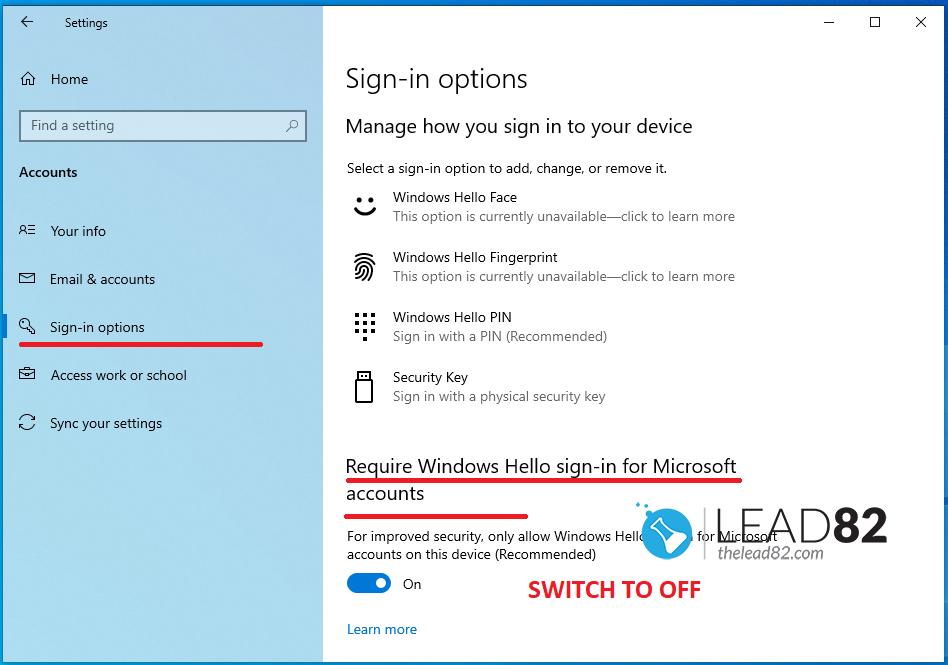 在Windows设置中禁用PIN和Windows Hello