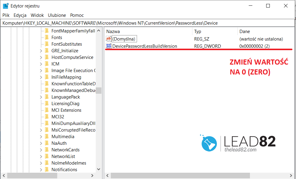 Windows edytor rejestru DevicePasswordLessBuildVersion