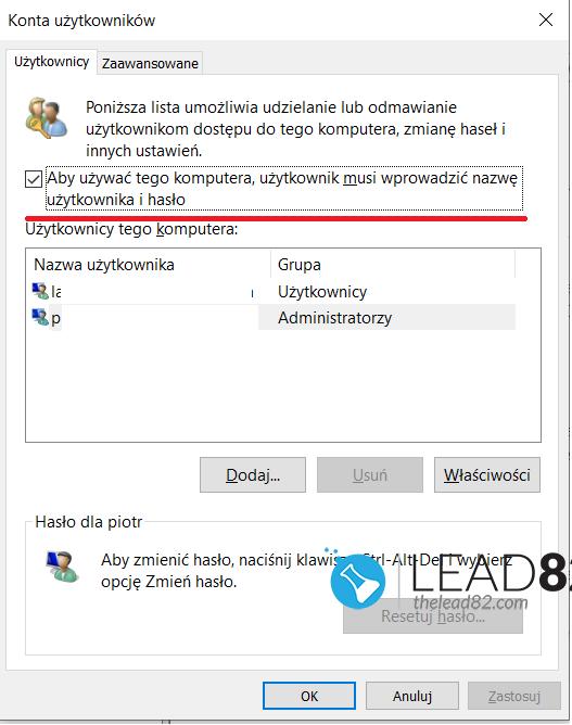 netplwiz automatyczne logowanie Windows 10